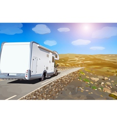 Camper on mountains road vector image