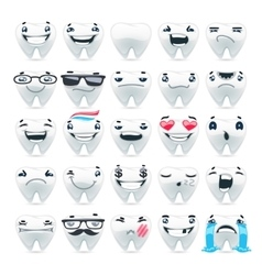 Cartoon Teeth Emoticons vector