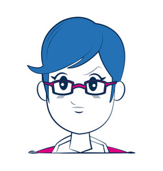 cartoon woman face smiling with blue hair vector image