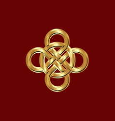 celtic knot interlocked circles logo golden icon vector image