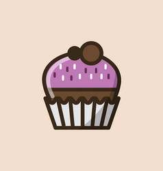 Chocolate muffin or cupcake vector