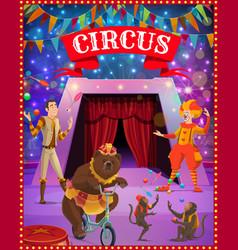 Circus tent arena clown juggler bear monkeys vector