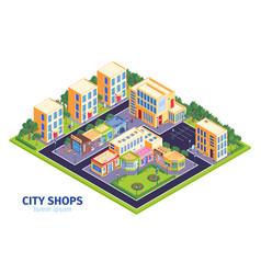 City district shops composition vector