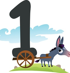 Collection number for kids farm animals - number 1 vector image vector image