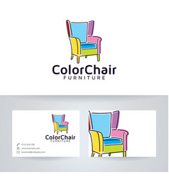 Color chair furniture logo vector
