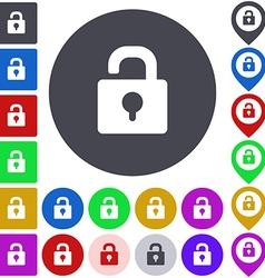 Color unlock icon set vector image