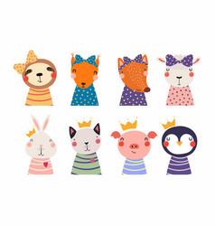 Cute little animals set vector