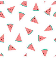 Cute slice watermelon isolated on white background vector