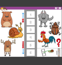 Educational task with big and small animal species vector