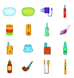 Electronic cigarettes icons set cartoon style vector