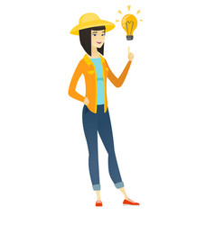 farmer pointing at bright idea light bulb vector image