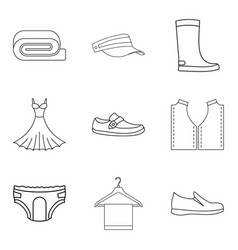 Fashion clothes icon set outline style vector