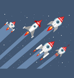five rockets in space vector image