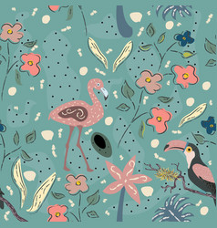 Flamingo bird and toucan seamless pattern vector
