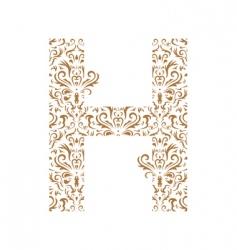 floral letter h ornament font vector image