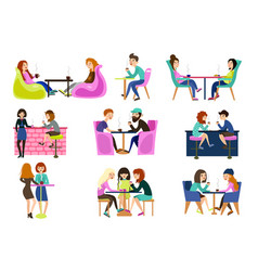friends in a summer cafe are sitting at tables vector image