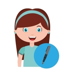 girl character student with supplies school vector image