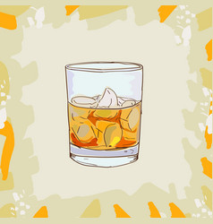 godfather cocktail alcoholic bar drink hand vector image