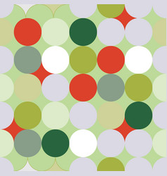 green and red christmas circles seamless pattern vector image