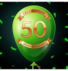 Green balloon with golden inscription fifty years vector