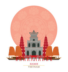 Hanoi vietnam with decoration background vector