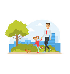 happy dad in his daughter walking with dog in vector image