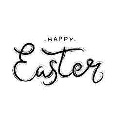 happy easter black paint lettering vector image