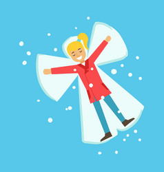 Happy girl having fun while making snow angel vector