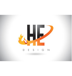 he h e letter logo with fire flames design and vector image