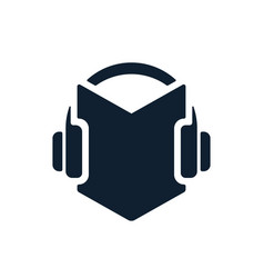headphones and audio book icon vector image