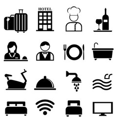 Hotel resort and hospitality icon set vector