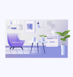 Interior of the living room design of a cozy room vector
