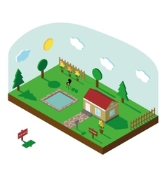 Isometric house3D Village landscape with sky vector