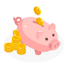 Isometric piggy bank with coins money cash vector