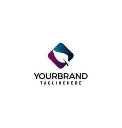 leaf square logo design concept template vector image