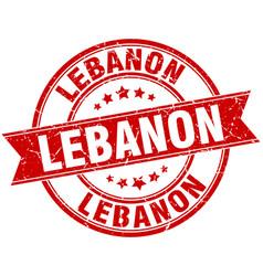 Lebanon red round grunge vintage ribbon stamp vector
