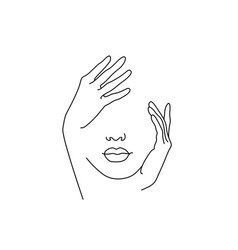 Line drawing art woman face with hand vector