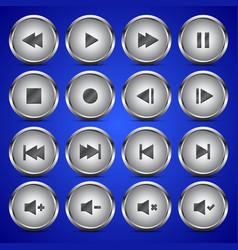 Matallic media player audio video icon circle vector
