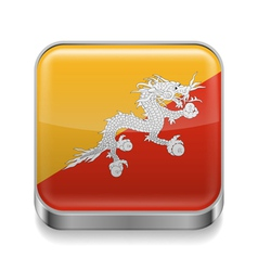 Metal icon of Bhutan vector image