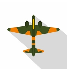 Military fighter aircraft icon flat style vector image