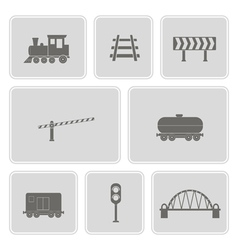 Monochrome set with railroad icons vector
