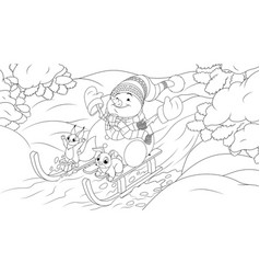 new year in forest snowman and little animals vector image