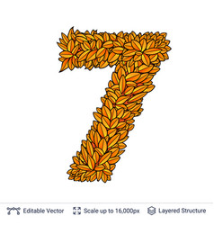 Number seven of autumn leaves vector