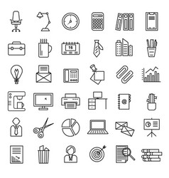 office signs black thin line icon set vector image
