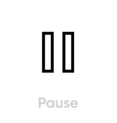 pause icon editable outline vector image