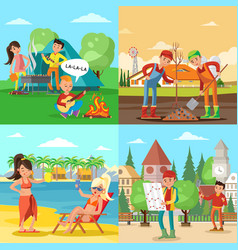People on nature square concept vector