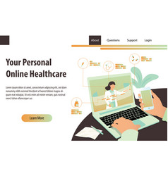 personal online healthcare concept with a doctor vector image