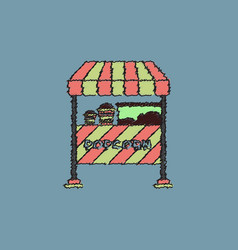 Popcorn shop in hatching style vector
