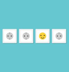 positive smiling plug socket vector image