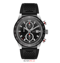 Realistic watch chronograph stainless black vector